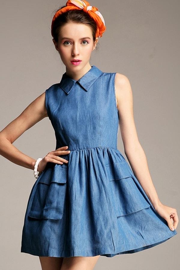 Paneled-Denim-Dress